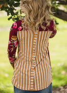 Floral and Striped Button Detail Top