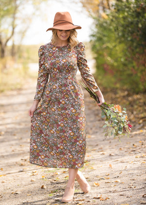 Floral Puff Sleeve Smocked Midi Dress - FINAL SALE