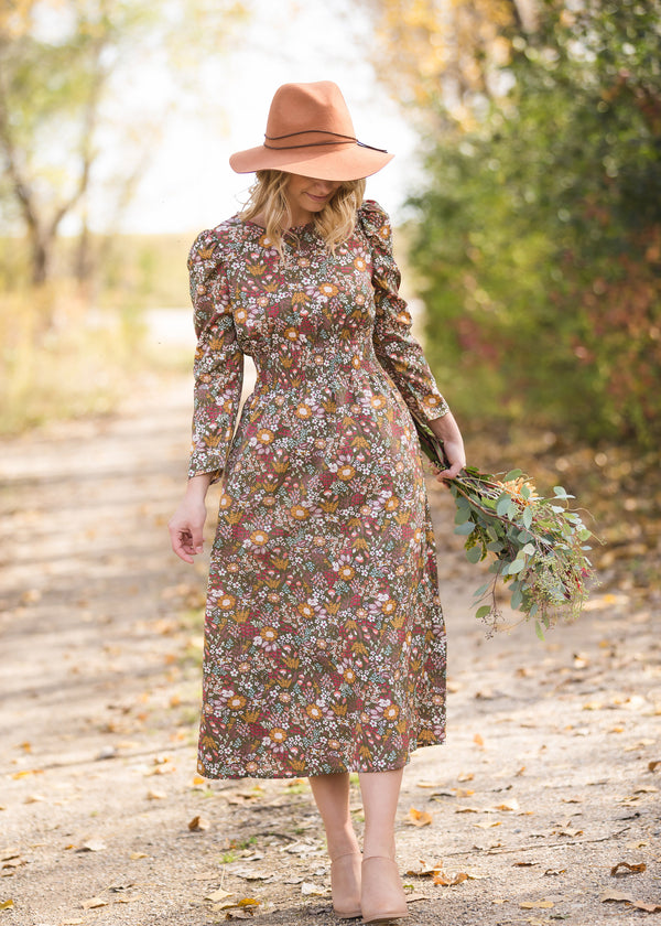 Inherit Co.  | Women's Modest Dresses | Floral Puff Sleeve Smocked Midi Dress