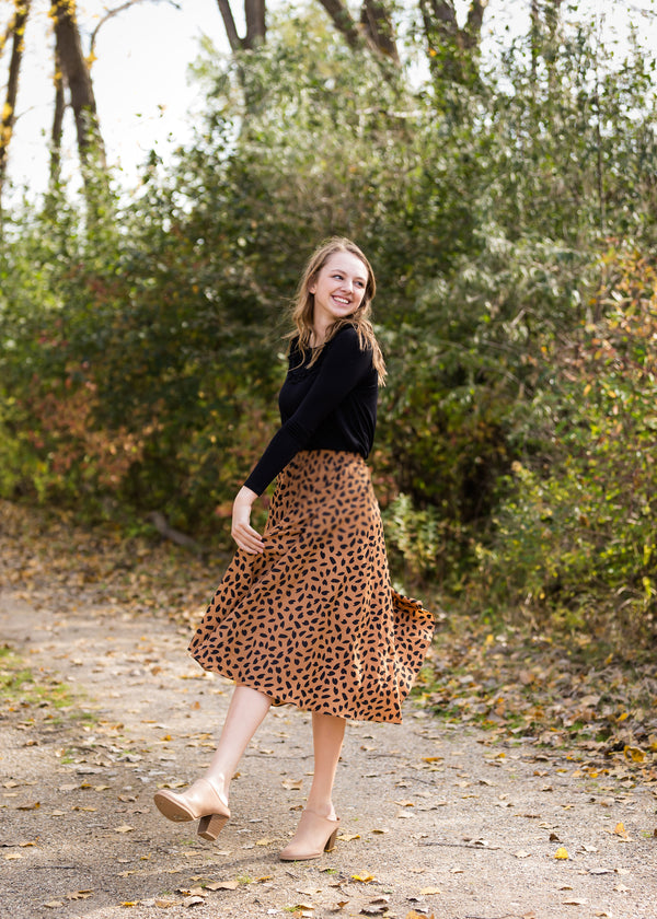 Inherit Co.  | Modest Women's Skirts | Leopard Print Flowy Midi Skirt