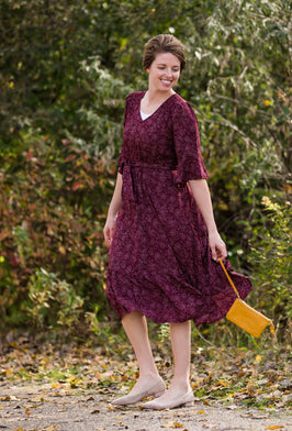 Inherit Co.  | Women's Modest Dresses | Embroidered Tiered Flowy Midi Dress |