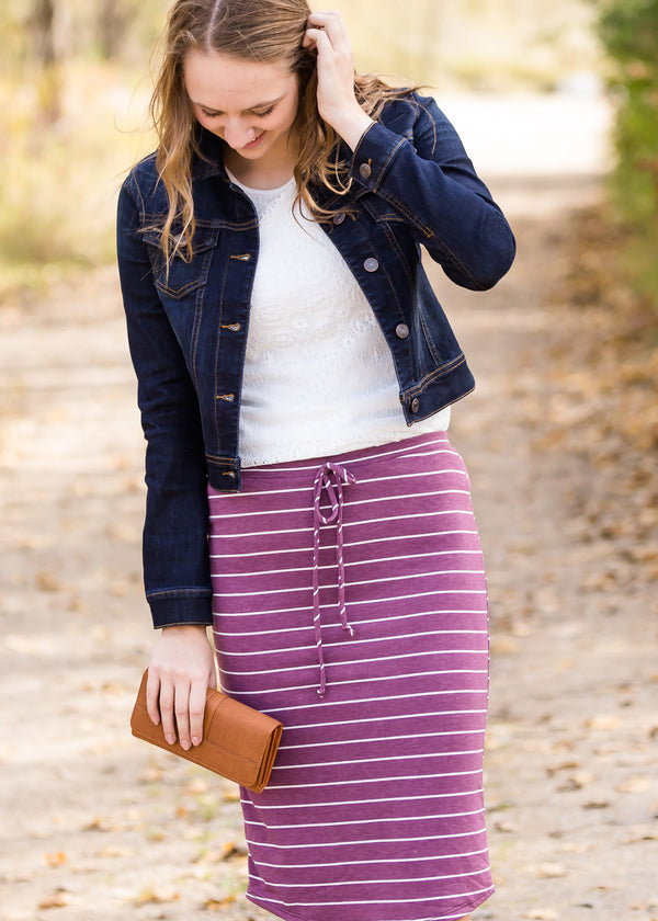 Inherit Co.  | Modest Women's Best Sellers | French Terry Striped Midi Skirt