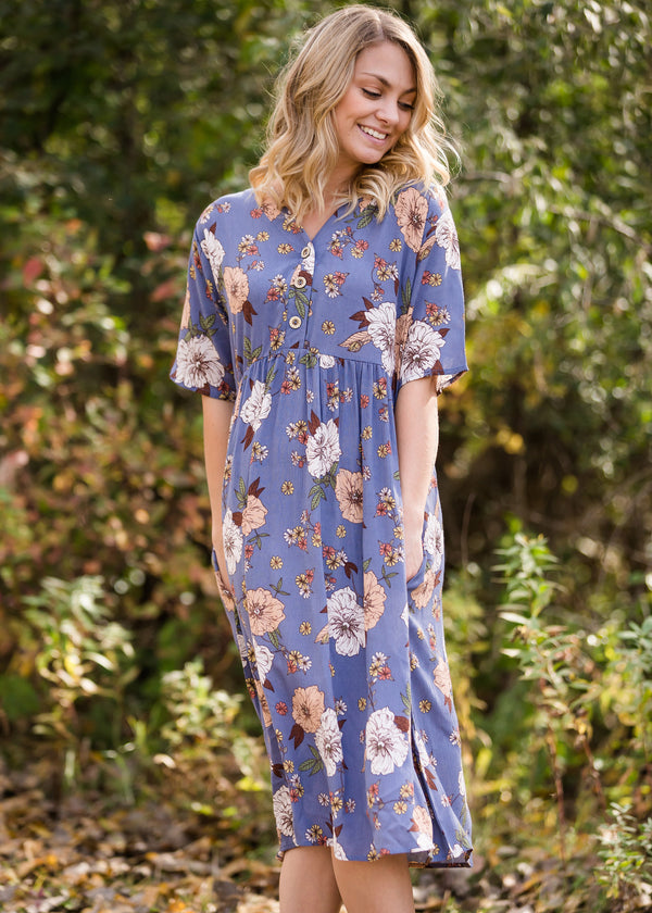 Inherit Co.  | Women's Modest Dresses | Floral Button Detail Midi Dress