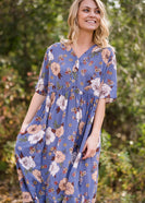 Floral Button Detail Midi Dress - FINAL SALE