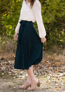 Green Polka Dot Wrap Midi Skirt - FINAL SALE