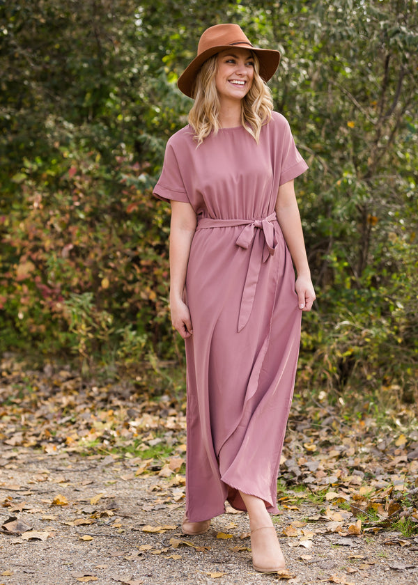 Inherit Co.  | Women's Modest Dresses | Mauve Hi Lo Belted Maxi Dress - FINAL SALE