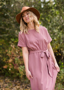 Mauve Hi Lo Belted Maxi Dress - FINAL SALE