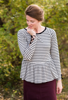 Inherit Co.  | Modest Women's Tops | Striped Light Knit Tee |