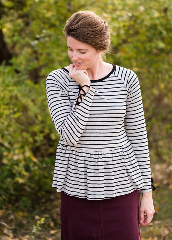 Inherit Co.  | Modest Women's Tops | Classic Stripe Peplum Top - FINAL SALE
