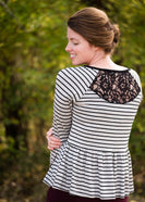Classic Stripe Peplum Top - FINAL SALE