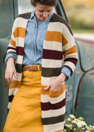 Color Block Long Sleeve Cardigan - Final Sale