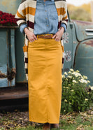 Stella Mustard Long Denim Skirt - FINAL SALE