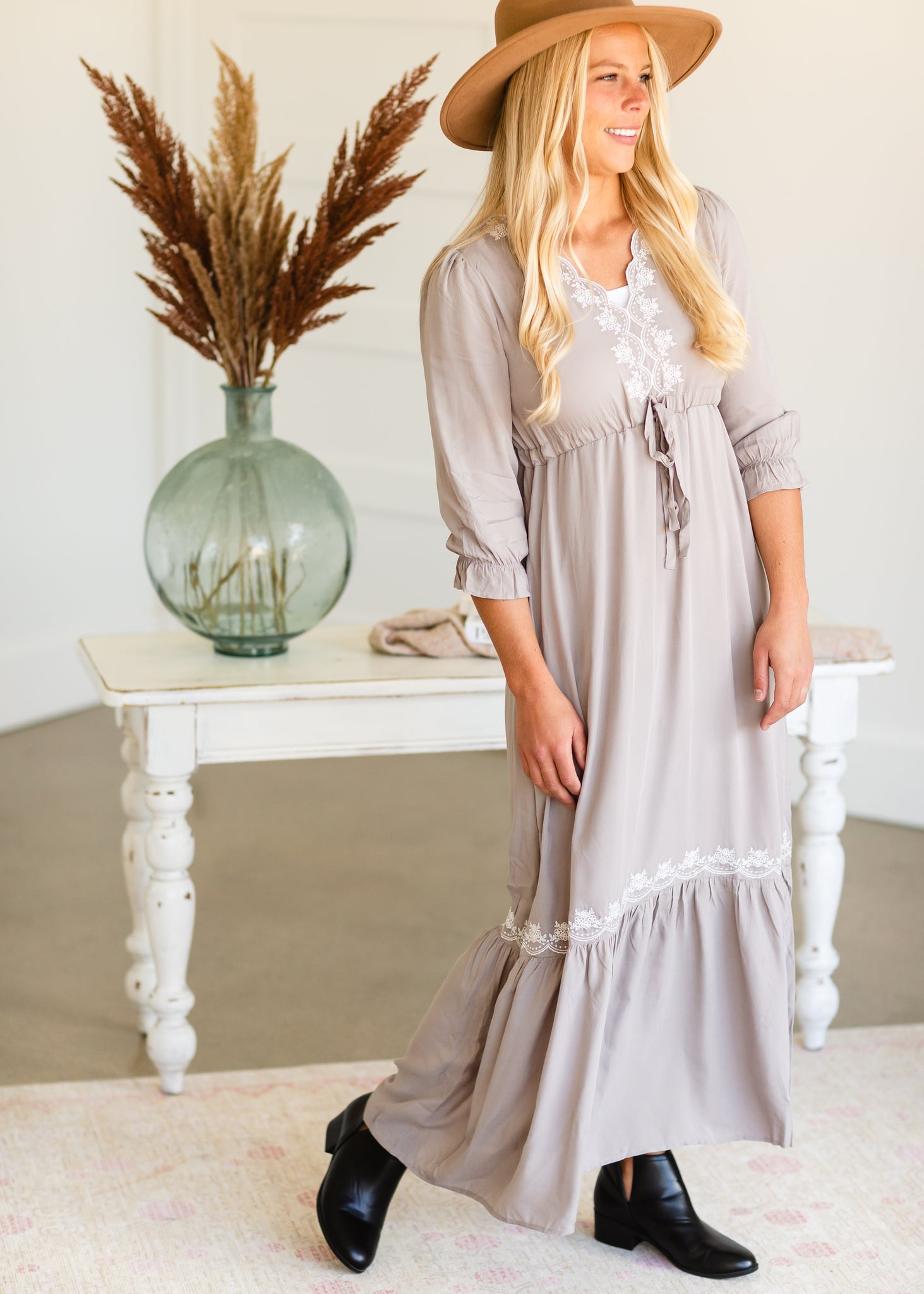 Gray Embroidered Tie Waist Maxi Dress - FINAL SALE