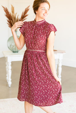 Inherit Co.  | Women's Modest Dresses | Mauve Swiss Dot Embroidered Midi Dress |
