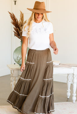 Inherit Co.  | Modest Women's Skirts | Taupe Side Pocket Leopard Print Midi Skirt |