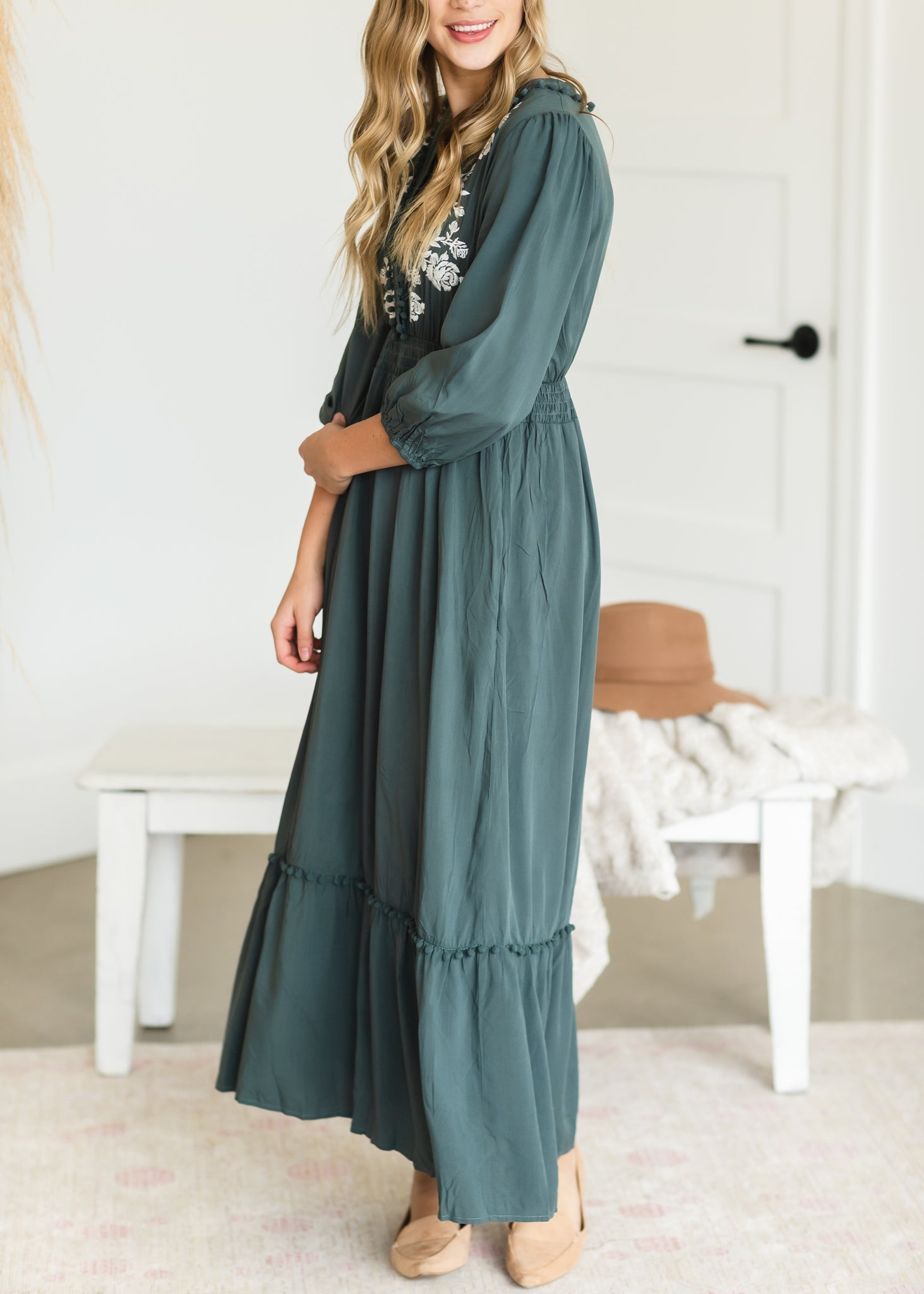 Teal Pom Pom Embroidered Maxi Dress