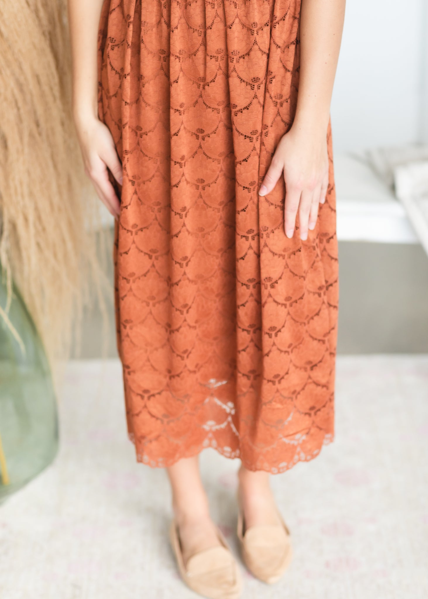 Cognac Scallop Lace Midi Dress - FINAL SALE