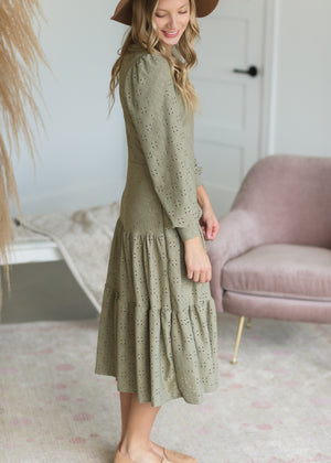 Sage Eyelet Knit Midi Dress - FINAL SALE