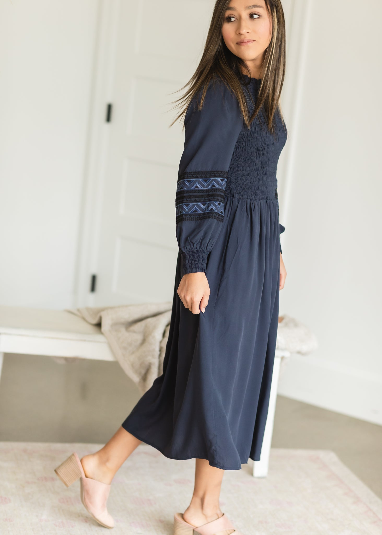 Navy Smocked Embroidered Midi Dress