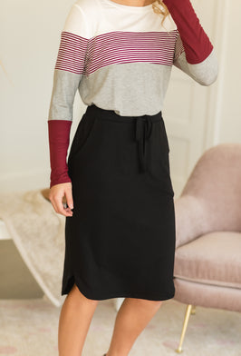 Inherit Co.  | Modest Women's Best Sellers | Loose Knit Peplum Top-FINAL SALE |