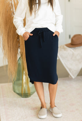 Inherit Co.  | Modest Women's Best Sellers | Denim Blocked Midi Jean Skirt - FINAL SALE |