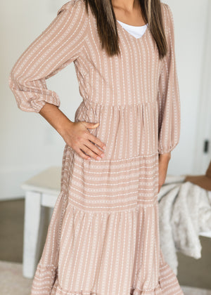Taupe V Neck Tiered Midi Dress