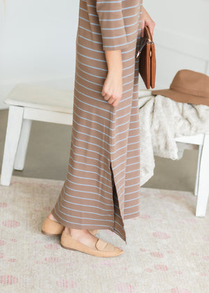 Crew Neck Long Sleeve Maxi Dress
