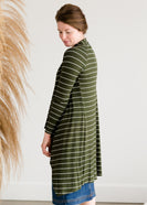 Inherit Co.  | Olive Striped Drape Cardigan
