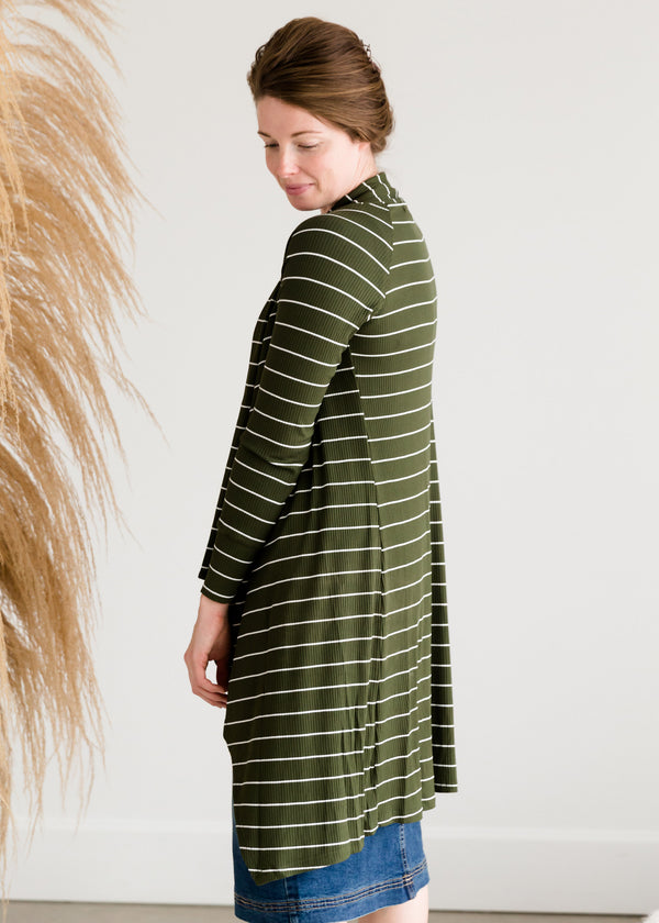 Inherit Co.  | Modest Women's Tops | Olive Striped Drape Cardigan - FINAL SALE
