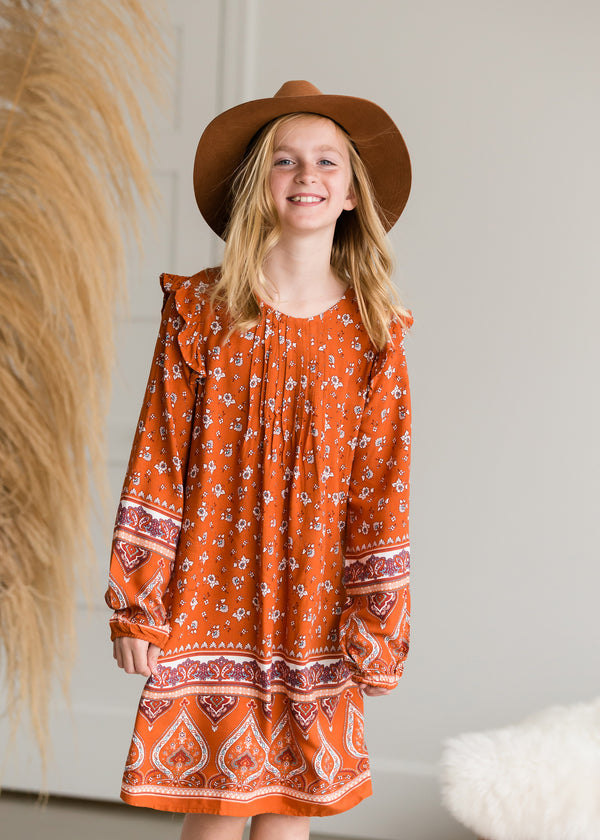Inherit Co.  | Girls Modest Clothing | Floral Ruffle Sleeve Midi Dress - FINAL SALE