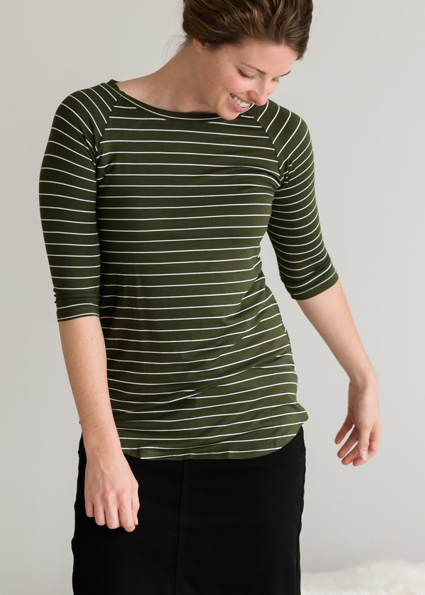 Inherit Co.  | Modest Plus Size Clothing | Olive Striped Long Sleeve Top