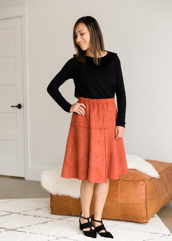 Inherit Co.  | Modest Women's Skirts | Suede A-Line Midi Skirt - FINAL SALE