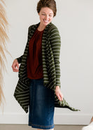 Inherit Co.  | Modest Women's Tops | Olive Striped Drape Cardigan