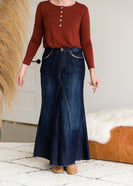 A Line Stitch Detail Long Denim Skirt - FINAL SALE
