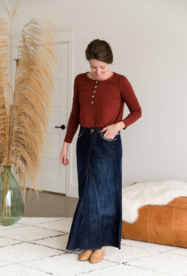 Inherit Co.  | l | A-line Embellished Long Denim Skirt |