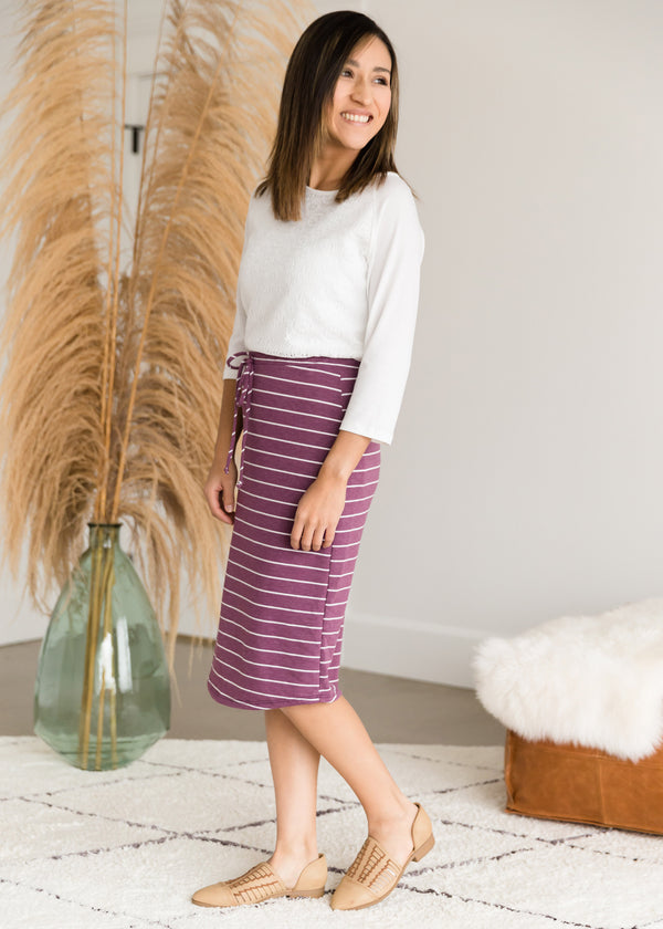 Inherit Co.  | Modest Women's Skirts | French Terry Striped Midi Skirt