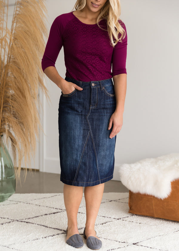 Inherit Co.  | Modest Plus Size Clothing | Detailed Pocket Midi Denim Skirt