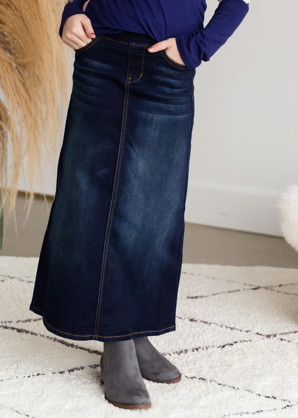 Inherit Co.  | Women's New Arrivals | Stretch Waist Dark Denim Long Skirt