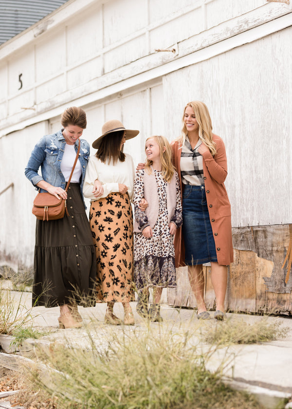 Inherit Co.  | Modest Women's Skirts | Olive Tiered Maxi Skirt