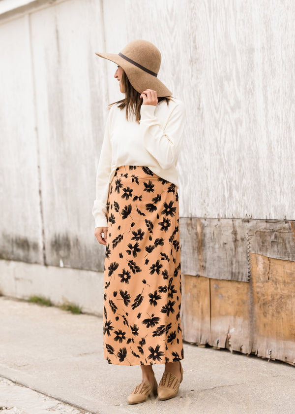 Inherit Co.  | Modest Women's Skirts | High Waist Floral A-Line Midi Skirt