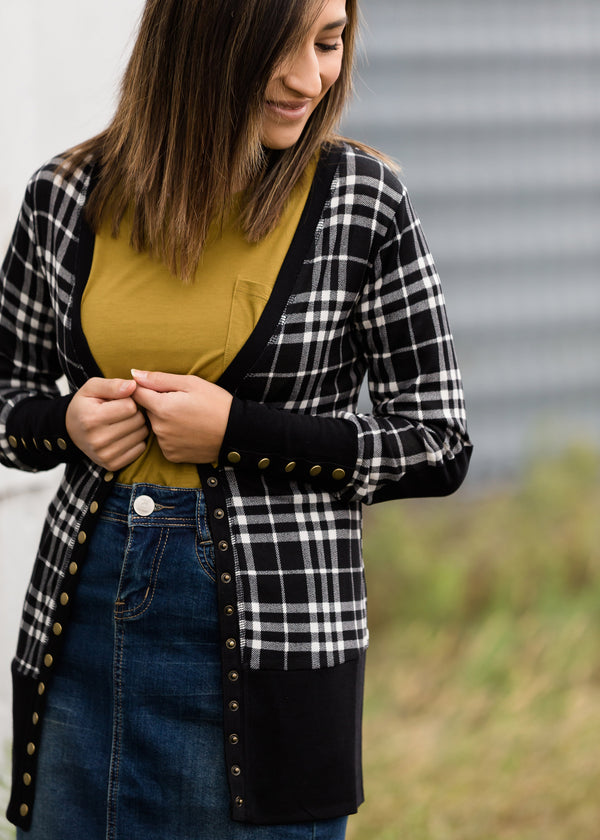 Inherit Co.  | Modest Women's Tops | Plaid Snap Button Cardigan