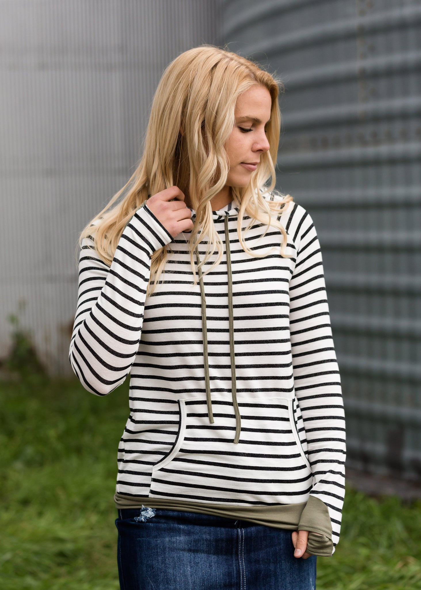 Striped Hooded Pullover Top - FINAL SALE