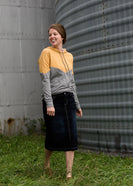 Inherit Co.  | Modest Women's Skirts | Black Wash Midi Denim Skirt