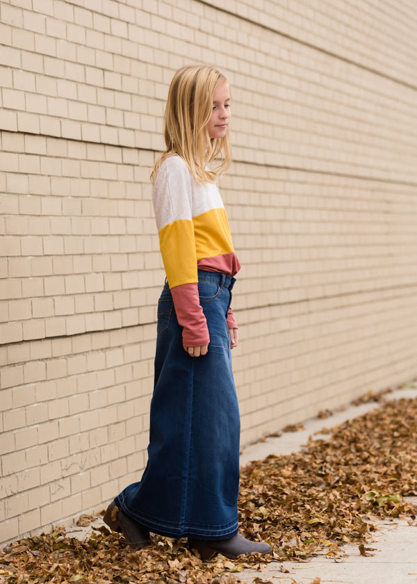 Inherit Co.  | Girls Modest Clothing | Raw Hem Long Denim Skirt