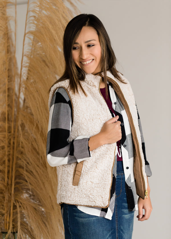 Inherit Co.  | Modest Women's Layering Essentials | Reversible Sherpa Padded Vest
