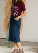 Vintage Stretch Midi Jean Skirt - FINAL SALE