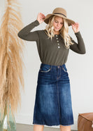 A Line Stitch Detail Midi Denim Skirt - FINAL SALE