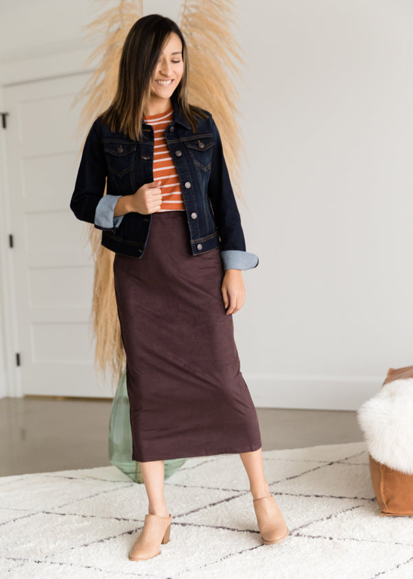 Inherit Co.  | Modest Women's Skirts | Suede Pencil Midi Skirt