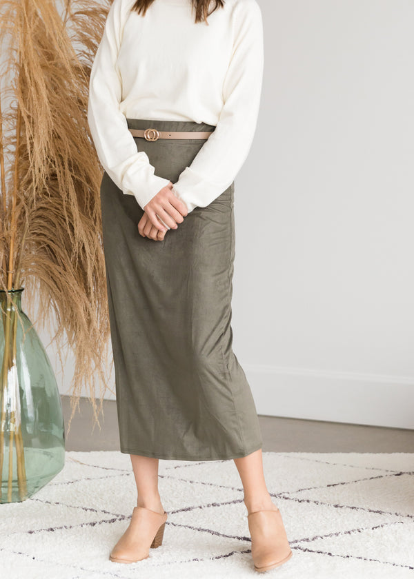 Inherit Co.  | Modest Women's Skirts | Suede Olive Pencil Midi Skirt - FINAL SALE