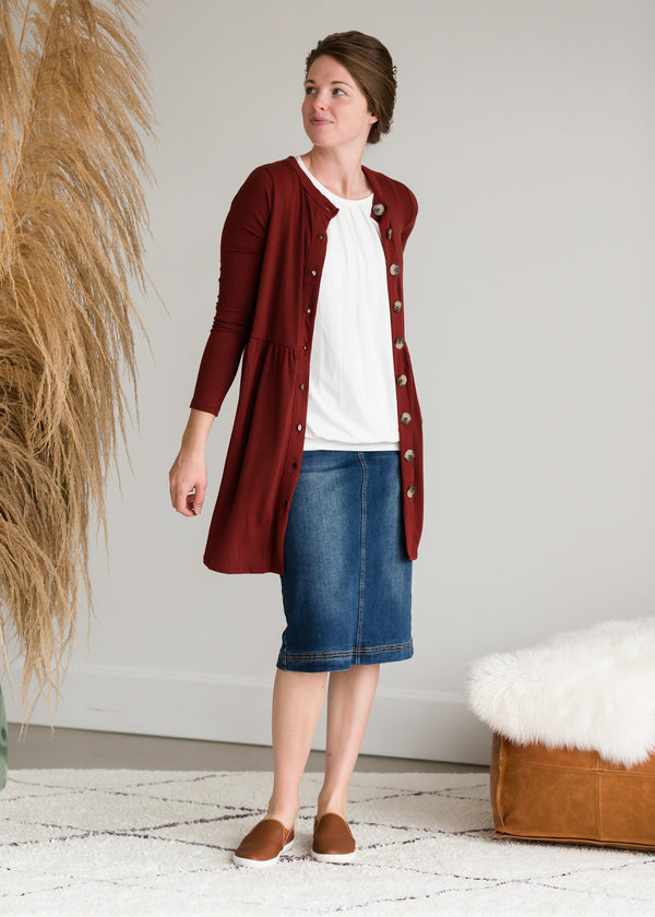 Inherit Co.  | Modest Women's Tops | Button Front Shirred Waist Cardigan